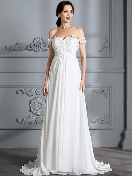 A-linjeformat Off-shoulder ringning Ärmlös Chiffong Golvläng Bröllopsklänningar