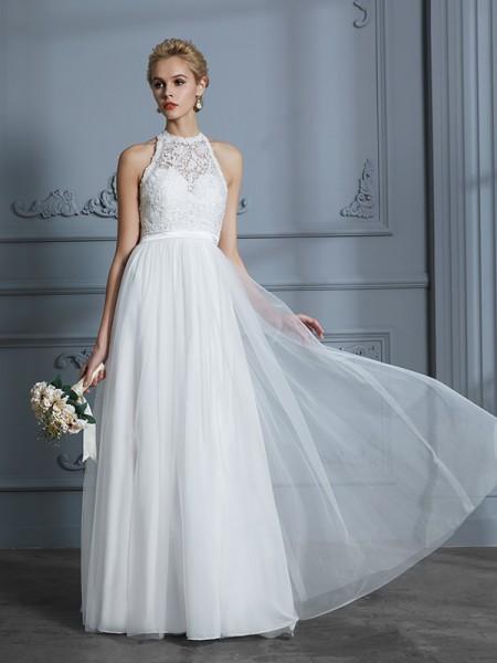 A-linjeformat Rund-urringning Ärmlös Tyll Golvläng Bröllopsklänningar