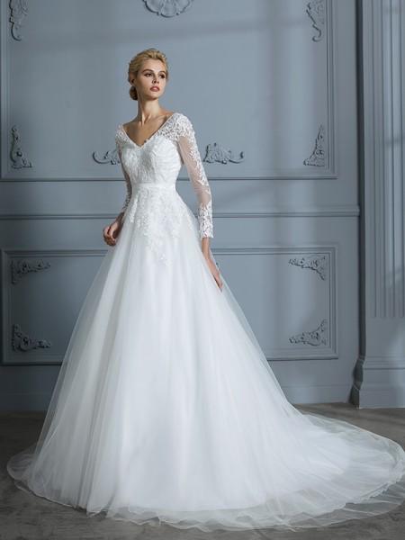 Stora V-ringning Långa ärmar Court släp Spetsar Tyll Bröllopsklänningar