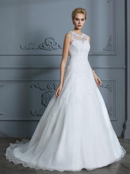 Stora Rund-urringning Ärmlös Tyll Court släp Applikation Bröllopsklänningar