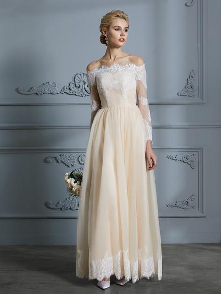 A-linjeformat Off-shoulder ringning Långa ärmar Golvläng Spetsar Tyll Bröllopsklänningar