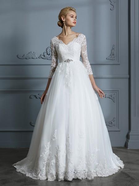 Stora V-ringning 3/4 Ärmar Court släp Spetsar Tyll Bröllopsklänningar