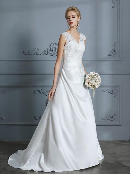 A-linjeformat V-ringning Sweep släp Ärmlös Applikation Satäng Bröllopsklänningar