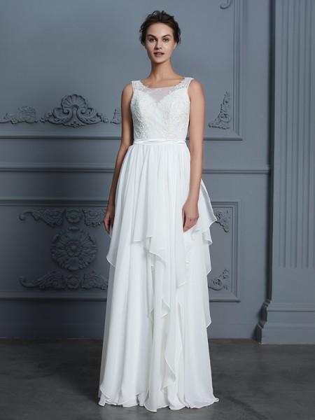 A-linjeformat Rund-urringning Ärmlös Rufsar Golvläng Chiffong Bröllopsklänningar