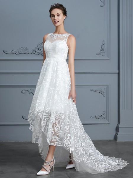 A-linjeformat Rund-urringning Ärmlös Asymmtrisk Spetsar Bröllopsklänningar