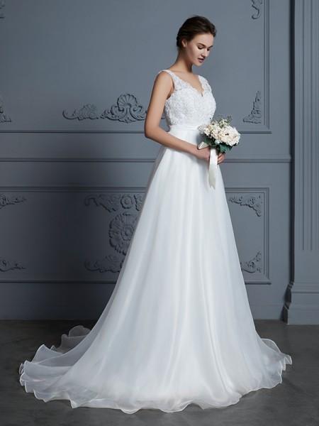 A-linjeformat V-ringning Ärmlös Golvläng Spetsar Chiffong Bröllopsklänningar