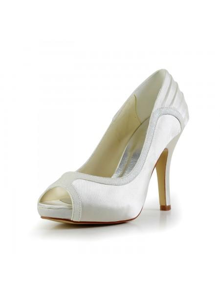 Women's Amazing Satäng Stiletto Heel Ivory Bröllop Skor