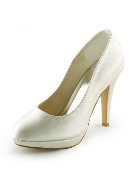 Women's Beautiful Satäng Stiletto Heel Closed Toe Platform Ivory Bröllop Skor