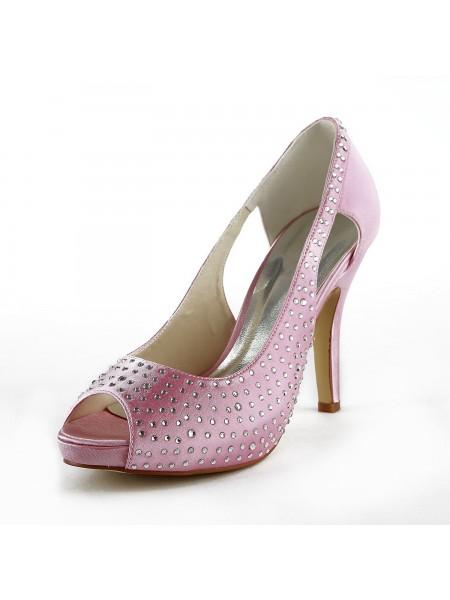 Women's Beautiful Satäng Stiletto Heel Peep Toe Dekorera med Rhen Sten Pink Bröllop Skor