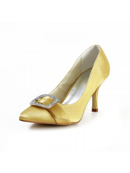 Women's Charming Satäng Stiletto Heel Closed Toe Dekorera med Rhen Sten Gold Bröllop Skor