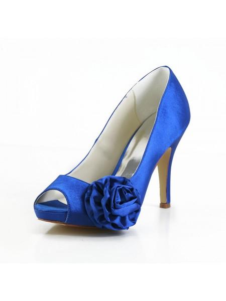 Women's Elegant Satäng Peep Toe Stiletto Heel Pumps Dekorera med Blommor Vit Bröllop Skor