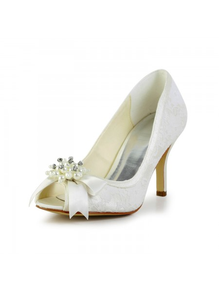 Women's Satäng Stiletto Heel Pumps Dekorera med Imitation Pärlor and Rosett Ivory Bröllop Skor