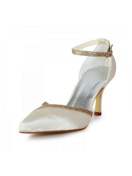 Women's Elegant Satäng Stiletto Heel Dekorera med Sparkling Glitter Gold Bröllop Skor
