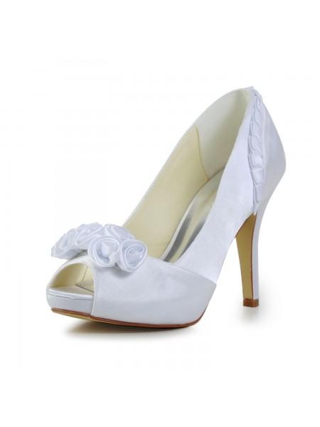 Women's Fabulous Satäng Stiletto Heel Pumps Dekorera med Blommor Vit Bröllop Skor