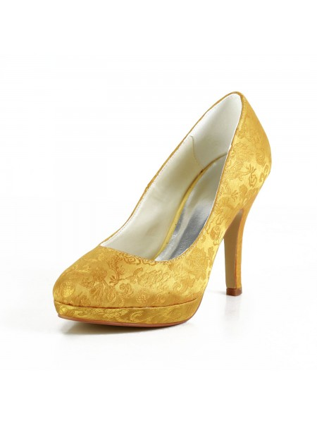 Women's Fashion Satäng Stiletto Heel Closed Toe Platform Gold Bröllop Skor