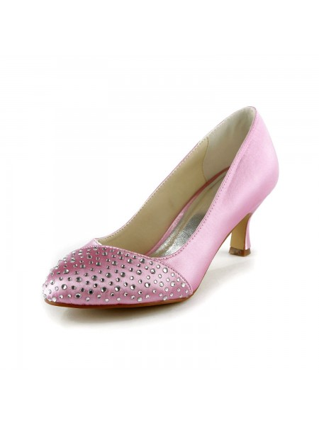 Women's Fashion Satäng Stiletto Heel Closed Toe Dekorera med Rhen Sten Pink Bröllop Skor