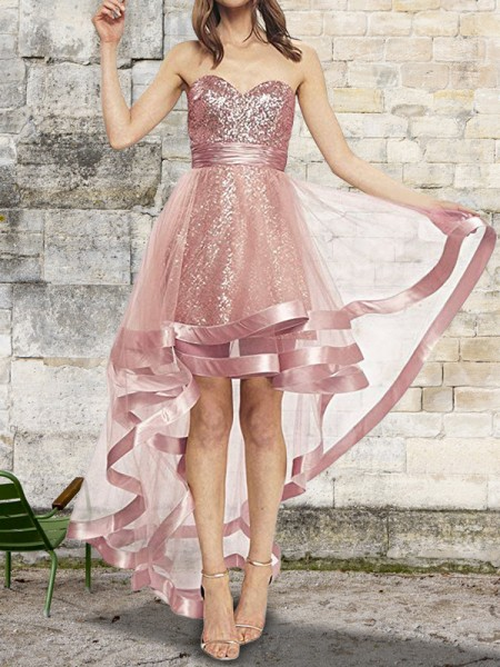 A-Line Hjärtformad Rosa Asymmtrisk Paljetterad Organzapåse Prom Klänningar
