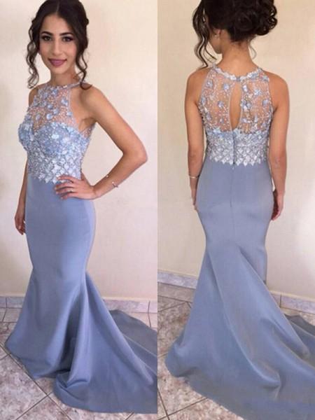 Mermaid Juvel Light Sky blue Crystal Satäng Prom Klänningar