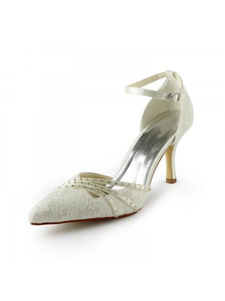 Women's Gauze Stiletto Heels Closed-toe Pärlbrodering Vit Bröllop Skor