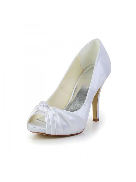 Women's Gorgeous Satäng Stiletto Heel Peep Toe Vit Bröllop Skor