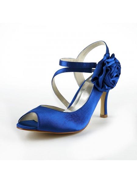 Women's Gorgeous Satäng Stiletto Heel Peep Toe Dekorera med Blommor Vit Bröllop Skor