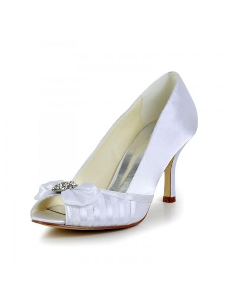 Women's Graceful Rosett Stiletto Heel Satäng Vit Bröllop Skor