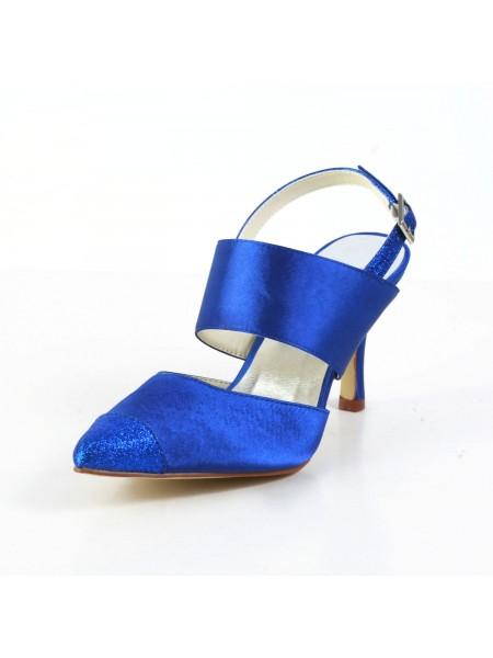 Women's Graceful Satäng Stiletto Heel Sandalerer Closed Toe Vit Bröllop Skor