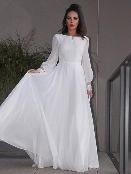 A-linjeformat Chiffong Rufsar Långa ärmar Rund Sweep släp Bröllopsklänningar