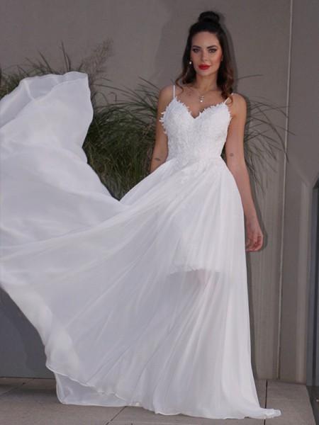 A-linjeformat Applikation Chiffong V-ringning Ärmlös Sweep släp Bröllopsklänningar