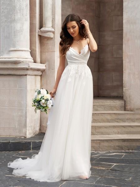 A-linjeformat V-ringning Tyll Ärmlös Applikation Sweep släp Bröllopsklänningar