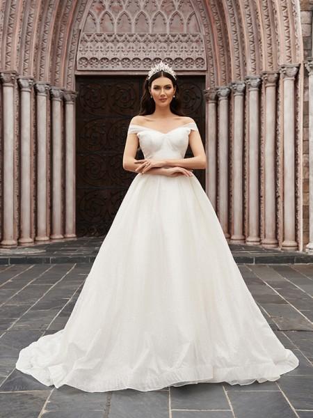 Balklänning Tyll Volanger Off-shoulder Ärmlös Court släp Bröllopsklänningar