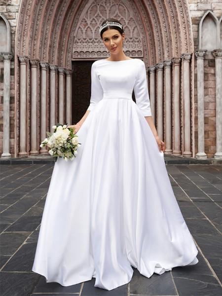 A-linjeformat Satäng Rosett Bateau 3/4 Ärmar Sweep släp Bröllopsklänningar