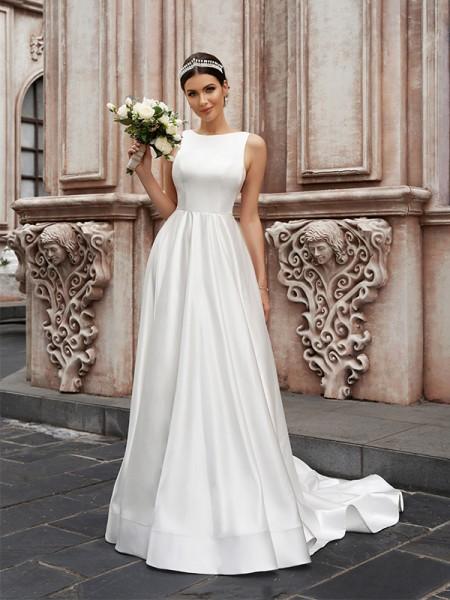 A-linjeformat Satäng Ärmlös Rund Rufsar Sweep släp Bröllopsklänningar