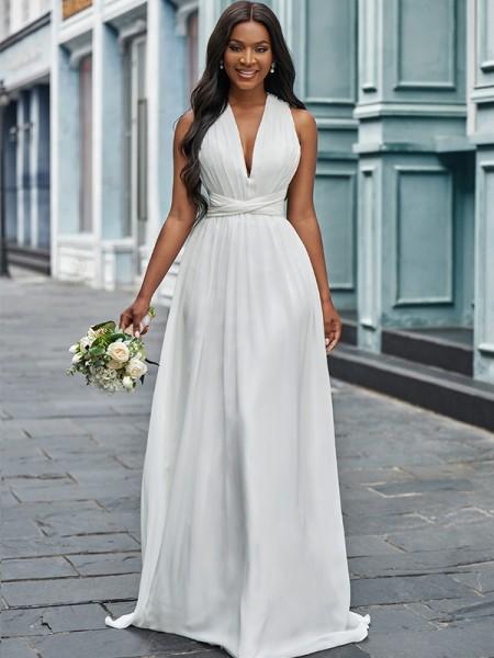 A-linjeformat Chiffong Grimma Volanger Ärmlös Golvläng Bröllopsklänningar