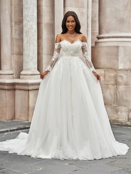 A-linjeformat Tyll Applikation Off-shoulder Långa ärmar Sweep släp Bröllopsklänningar
