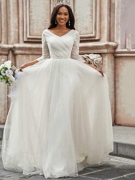 A-linjeformat Volanger Älskling Tyll 3/4 Ärmar Sweep släp Bröllopsklänningar