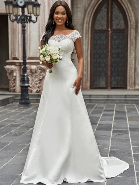 A-linjeformat Rund Satäng Spets Ärmlös Sweep släp Bröllopsklänningar