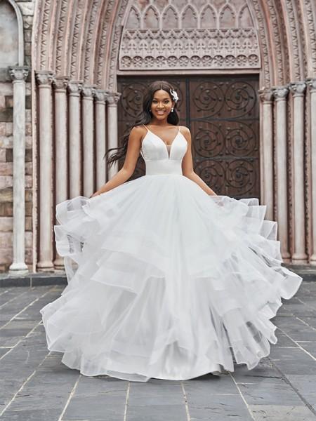 A-linjeformat Tyll V-ringning Rufsar Ärmlös Golvläng Bröllopsklänningar