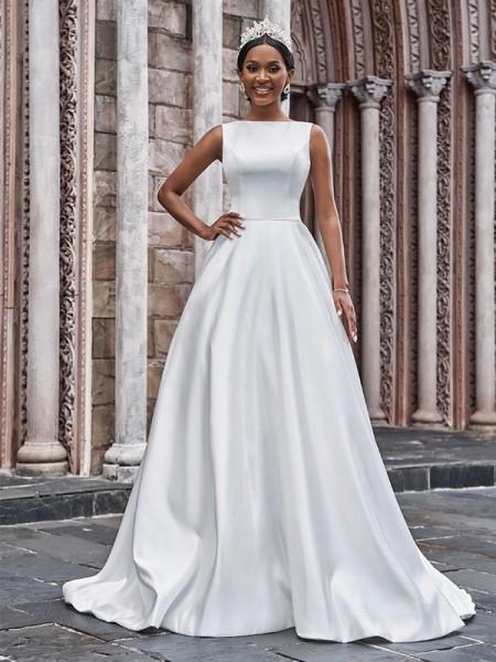 A-linjeformat Satäng Bateau Rufsar Ärmlös Sweep släp Bröllopsklänningar