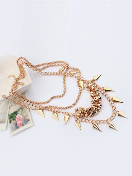 Occident Hyperbolic Stylish Street shooting style Button screw Metallic Multi-layered Hot Sale Halsband