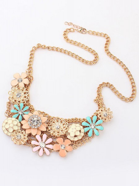 Korean version Sweet Fresh Blommor Metallic Hot Sale Halsband