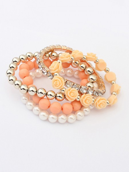 Korean version Sweet Multi-layered Rose Elasticity Hot Sale Armband