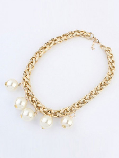 Occident Metallic Punk Imitation Pärlor Hot Sale Halsband