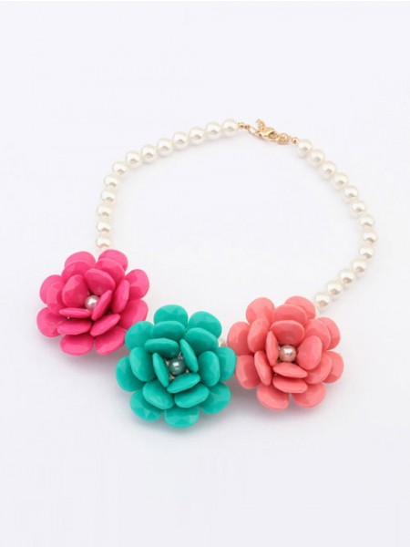 Occident Candy colors Imitation Pärlor Big Blommor Hot Sale Halsband