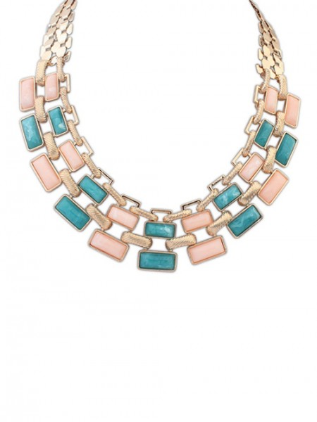 Occident Stylish OL Style Geometry Blocks Hot Sale Halsband