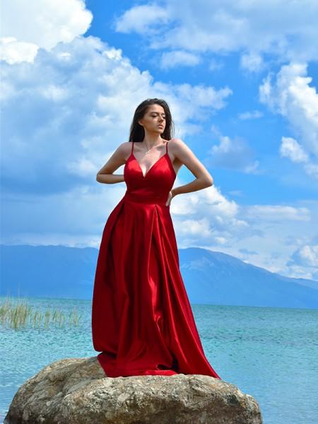 A-Line/Princess Satin Ruffles V-neck Floor-Length Sleeveless Dresses
