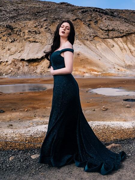 Trumpet/Mermaid Ruffles Sequins Sleeveless Off-the-Shoulder Sweep/Brush Train Dresses