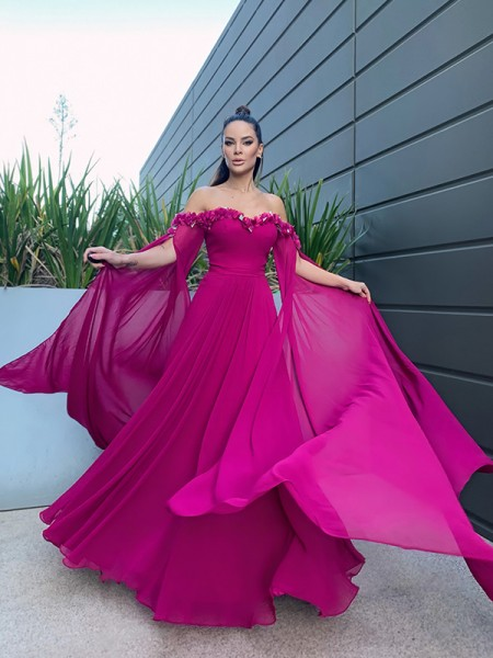 A-Line/Princess Chiffon Floor-Length Long Sleeves Ruffles Off-the-Shoulder Dresses