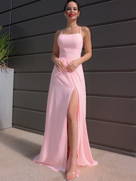 A-Line/Princess Floor-Length Halter Sleeveless Chiffon Ruffles Dresses