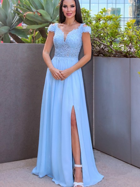 A-Line/Princess Floor-Length Off-the-Shoulder Sleeveless Chiffon Applique Dresses